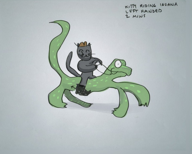 Quinn's: Probably the best drawing of a cat riding on iguana that yet exists on the internet.